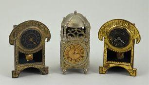 Three miniature clocks for dolls house, German circa 1890,