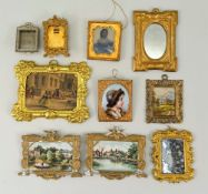 Seven miniature dolls house pictures, circa 1890,