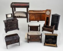 Collection of wooden dolls house furniture including Elgin of Enfield, 1910-1930,