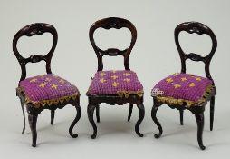 Three Rock & Graner tin-plate balloon-back chairs, German 1870s,