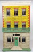 Silber & Fleming painted wooden box-back dolls house, German circa 1860,