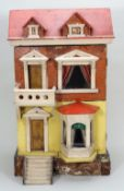 A painted wooden and paper lithographed dolls house, English circa 1900,