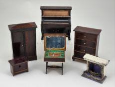 Five pieces of Waltershausen dolls house furniture, German circa 1880,