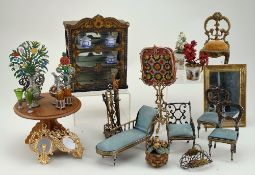 A good collection of miniature dolls house furniture and accessories, mostly German 1890s,