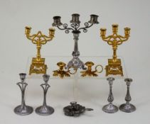 A pair of miniature gilt metal candelabra, German circa 1890,