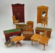 Collection of dolls house furniture, German circa 1890,