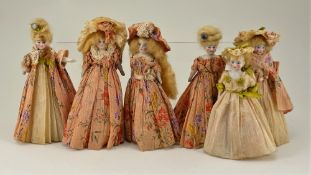 Six all original bisque shoulder head dolls, German 1920s,