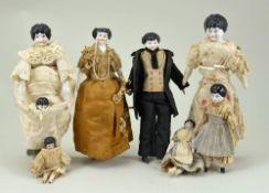 Eight miniature glazed china shoulder head dolls, German circa 1860,