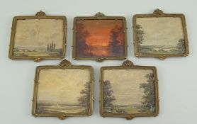 Five Miniature oil paintings for dolls house, German, circa 1890,