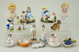 Collection of various Dolls House bisque/china figures, 19th century,