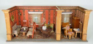 A good miniature dolls room set, German circa 1890,