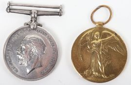 WW1 British War and Victory Medal Pair