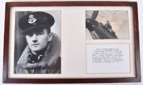 Framed Photograph Display of Battle of Britain Pilot Jocelyn George Power Millard No1 & 242 Squadron