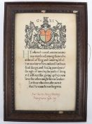 WW1 Framed Memorial Scroll DCLI Killed in Action 16th September 1916