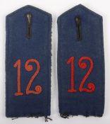 Matched Pair of WW1 German Koniglich Sachsisches 1. Train-Abteilung Nr 12 Shoulder Straps