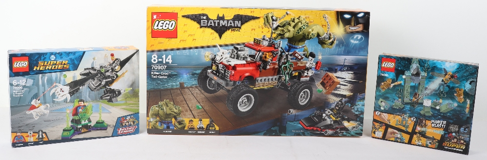 Three DC super heroes boxed Lego sets