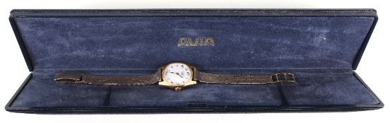 A ladies Longines wristwatch with a later 9ct gold strap