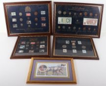 Five framed coin, stamp and banknote collections
