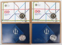 Two Diamond Jubilee £5 silver coins from the Diamond Jubilee Collection