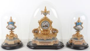 A 19th century French Sevres style porcelain mounted gilt metal mantle clock stamped P.H. Mourey