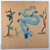 An early 20th century Chinese fire screen (surround missing) silk showing a four claw dragon