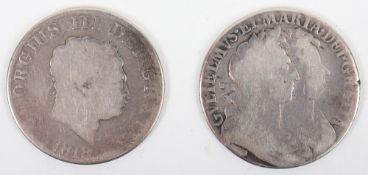 William & Mary, Halfcrown 1689, First bust, (S.3434)