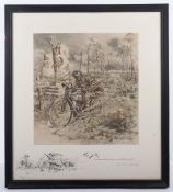 Charles Johnson Payne 'Snaffles' (1884-1967) 'The D.R.' (Despatch Rider), signed coloured print, sig
