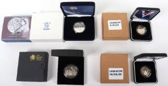 Two Royal Mint End of WWII silver Piedfort £2 coins, a Royal Mint £5 150 Tales from the Tube, a Silv