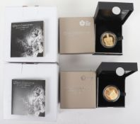 Two Royal Mint, Queen's Coronation 60th Anniversary £5 gold plated silver proof coin