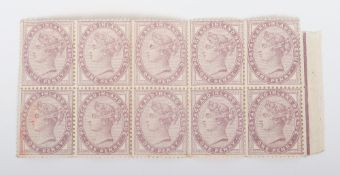 A marginal block of ten Victoria One Penny 1d Postage and Inland Revenue stamps from the right of th