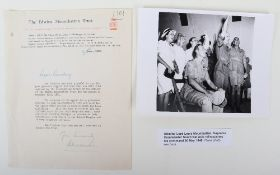 """Letter Relating to the Edwina Mountbatten Trust (1962) and signed by """"Alexander"""" of Tunis"""