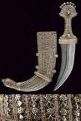 A silver mounted Jambiya