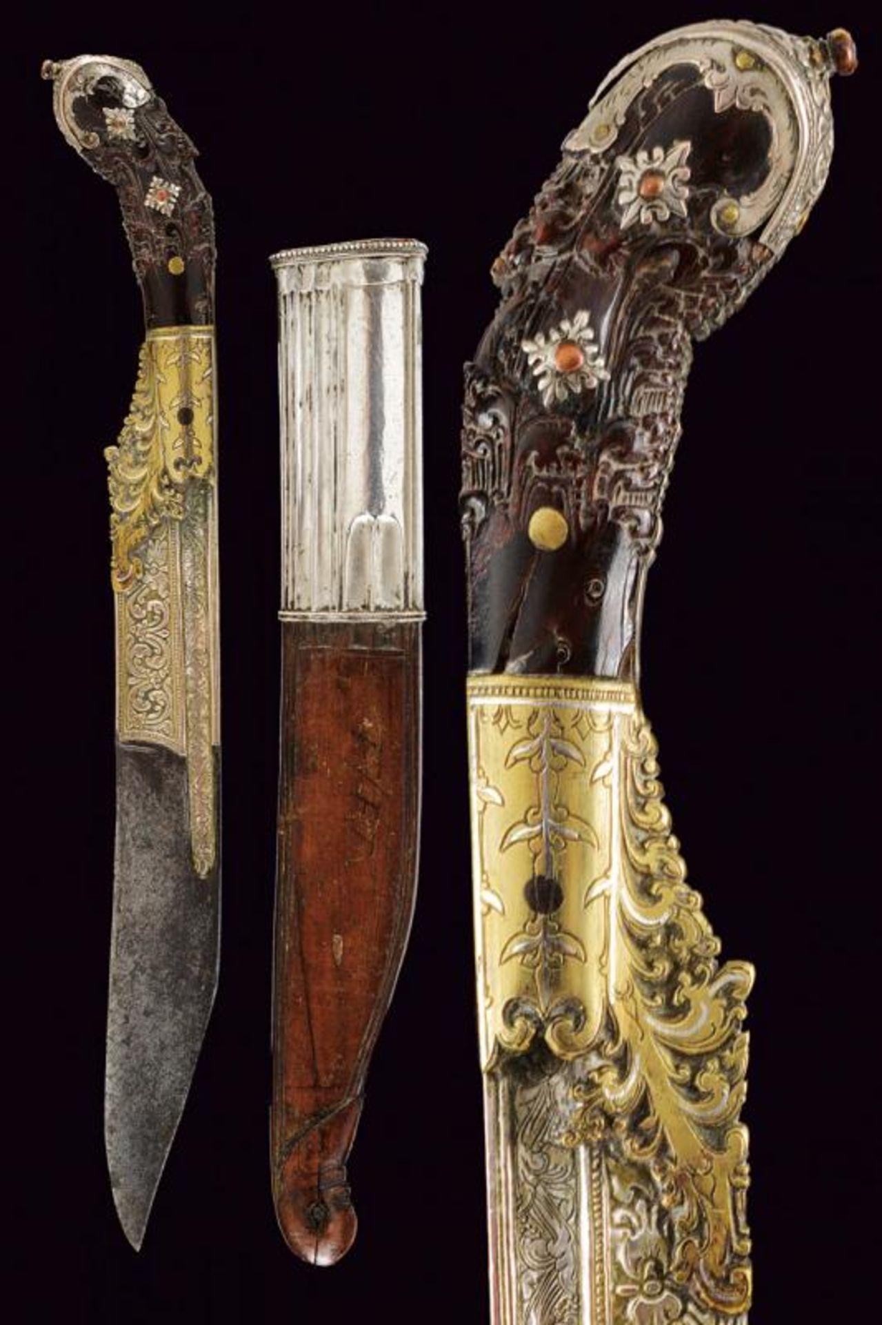 A fine silver and brass mounted Piha kaetta