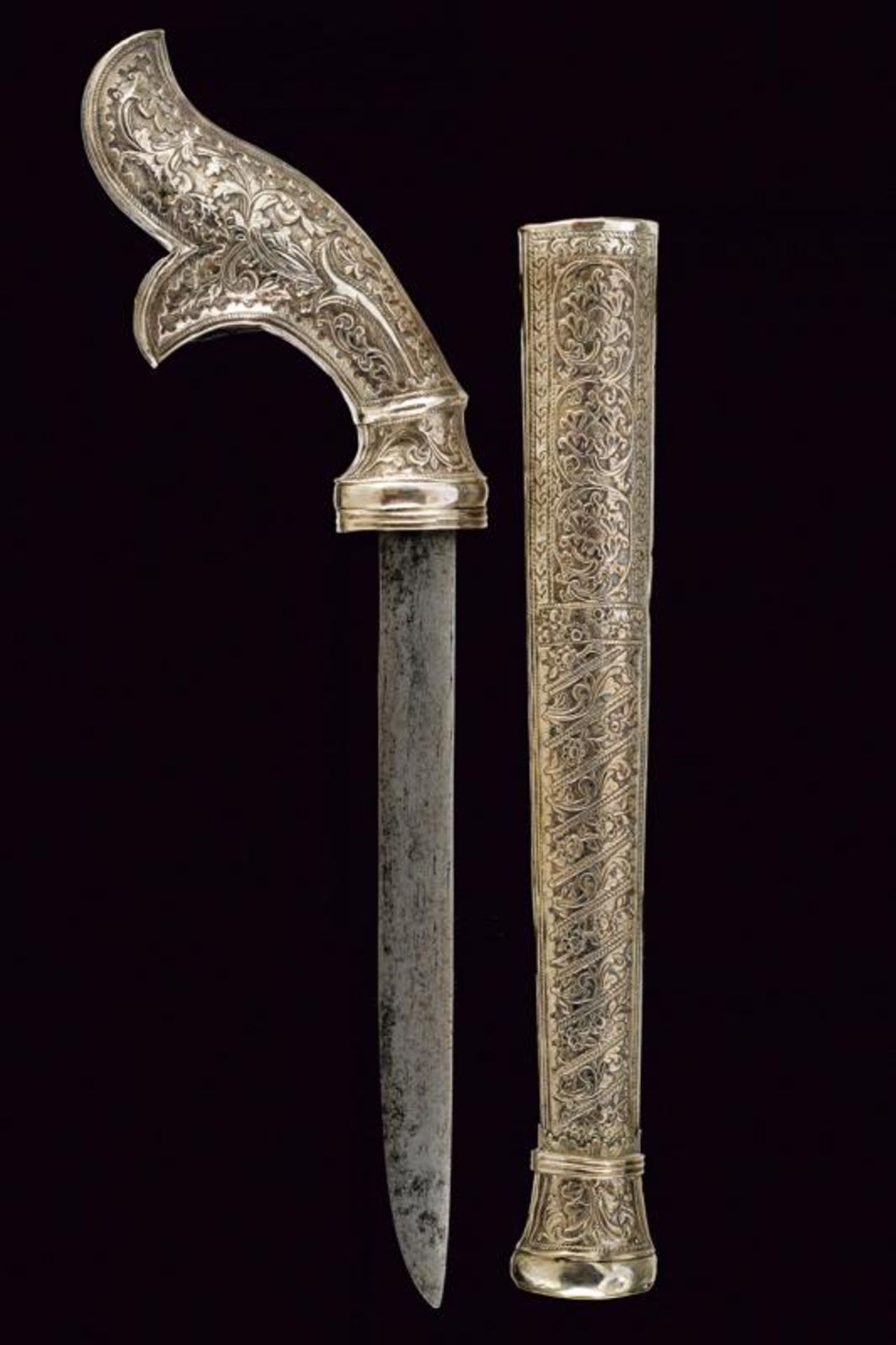 A silver mounted Badik