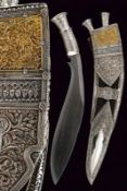 An exceptional silver mounted kukri