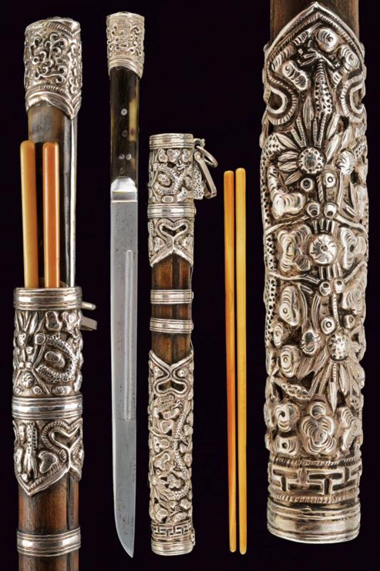 A silver mounted trousse