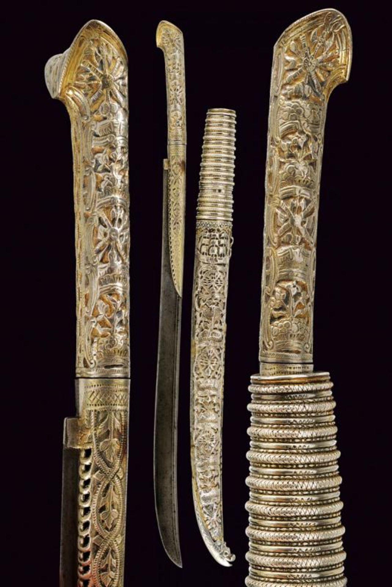 A rare silver mounted naval yatagan