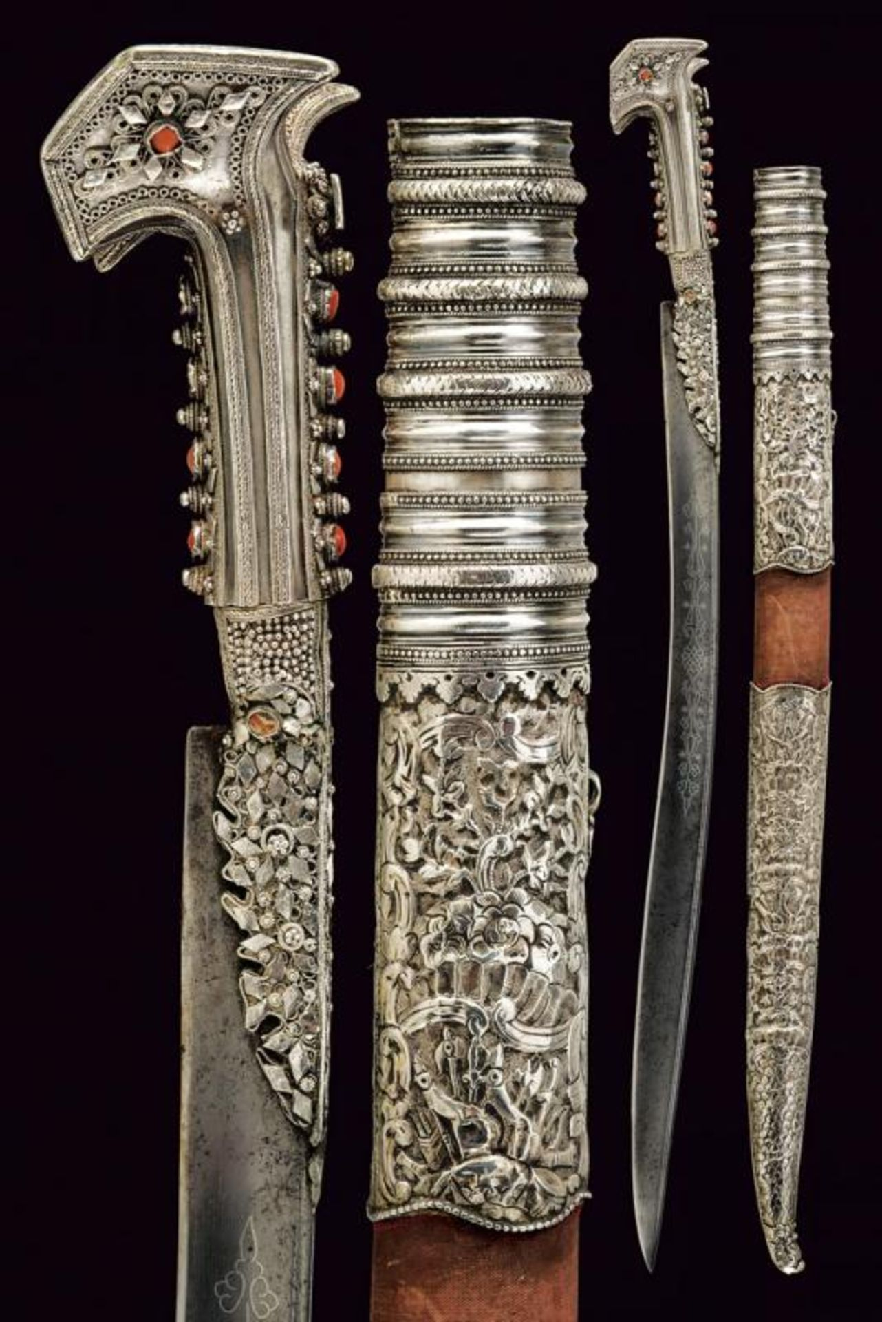 An exceptional silver mounted yatagan