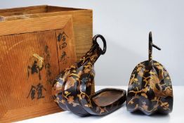 A pair of lacquered abumi (stirrups)