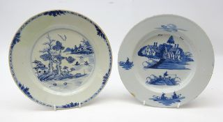 18th century Delft tin glazed plate painted in blue in the Chinese style,