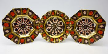 Two Royal Crown Derby Old Imari octagonal plates and another with waved rim no.
