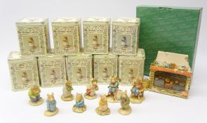 Nine Brambly Hedge Border Fine Arts figures comprising Lord Woodmouse in Chair BH22,