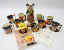 Collection of Royal Doulton character jugs comprising: The Policeman, The Fireman,
