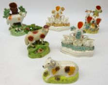 19th Century Staffordshire figure of a sheep and lamb in bocage, similar later model,