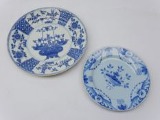 18th century Chinese Export blue and white plate D28.