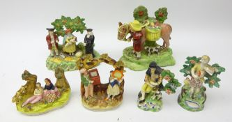 19th century Staffordshire group 'The Jolly Traveller', 'Tithe Pig',