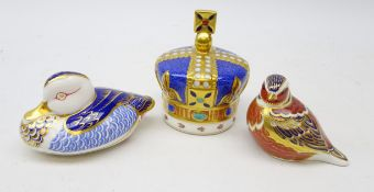 Three Royal Crown Derby paperweights: One Hundred Royal Years ltd. ed.