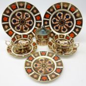 Pair Royal Crown Derby Old Imari cups and saucers, pair side plates,