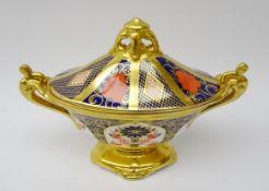 Royal Crown Derby Old Imari pattern two handled navette shaped pedestal vase and cover,