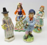 Four 19th century Staffordshire figures: Jenny Jones, H31.5cm, Lady with walking cane and hat, H32.